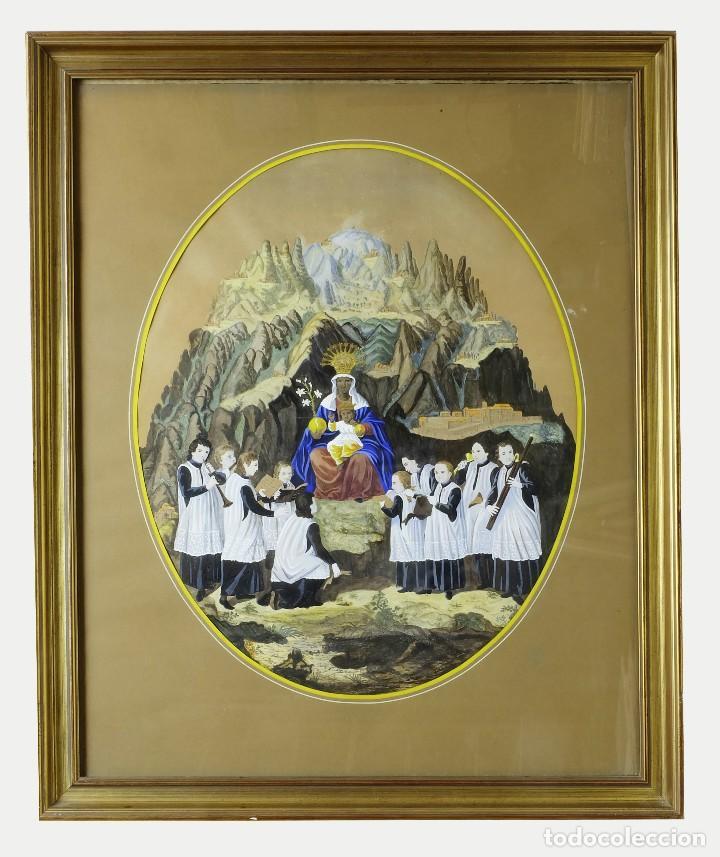 1750/1850 GRABADO CARTOGRÁFICO - MONTAÑA DE MONTSERRAT CON LAS ERMITAS Y LA VIRGEN (Arte - Cartografía Antigua (hasta S. XIX))