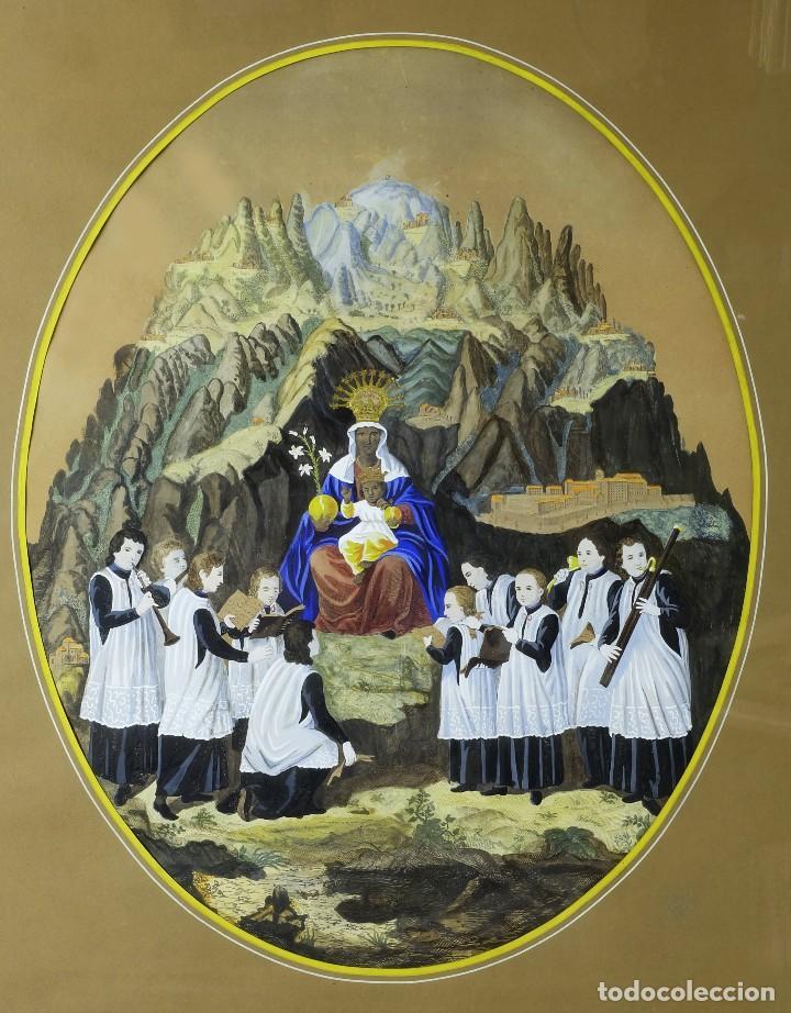 Arte: 1750/1850 Grabado cartográfico - Montaña de Montserrat con las ermitas y la Virgen - Foto 2 - 129084339