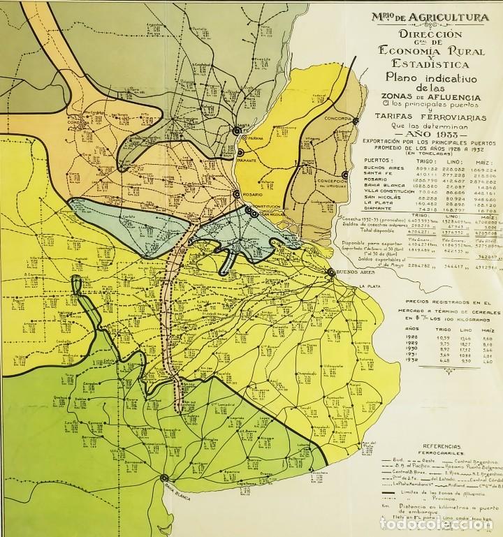Arte: 1933 - Raro Mapa Plano de Buenos Aires Argentina Tarifas ferroviarias Puertos en Cromolitografia - Foto 3 - 129085147