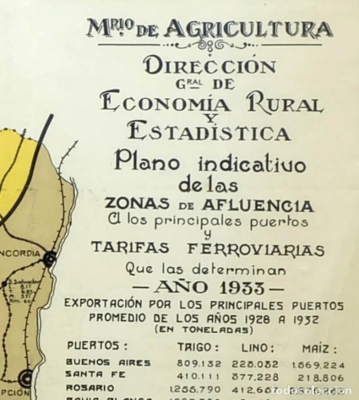 Arte: 1933 - Raro Mapa Plano de Buenos Aires Argentina Tarifas ferroviarias Puertos en Cromolitografia - Foto 2 - 129085147