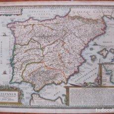 Arte: GRAN MAPA DE ESPAÑA Y PORTUGAL, 1741. JANNSONIUS. Lote 129108551