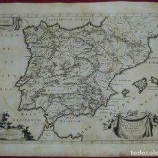 Arte: GRAN MAPA DE ESPAÑA Y PORTUGAL, 1718. F. HALMA. Lote 129196363