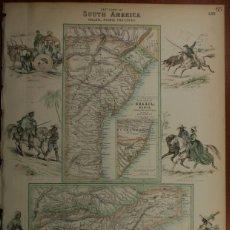 Arte: MAPA DE BRASIL Y RIO DE JANEIRO (AMÉRICA DEL SUR), 1864. BARTHOLOMEW/FULLARTON. Lote 129445831