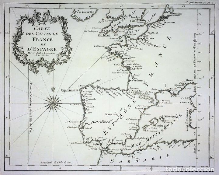 CARTE DES COSTES DE FRANCE ET D'ESPAGNE. JACQUES NICOLAS BELLIN. FRANCIA.1749-1760 (Arte - Cartografía Antigua (hasta S. XIX))