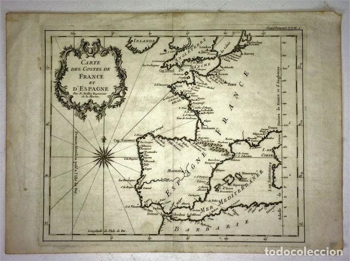 Arte: CARTE DES COSTES DE FRANCE ET DESPAGNE. JACQUES NICOLAS BELLIN. FRANCIA.1749-1760 - Foto 2 - 129524459