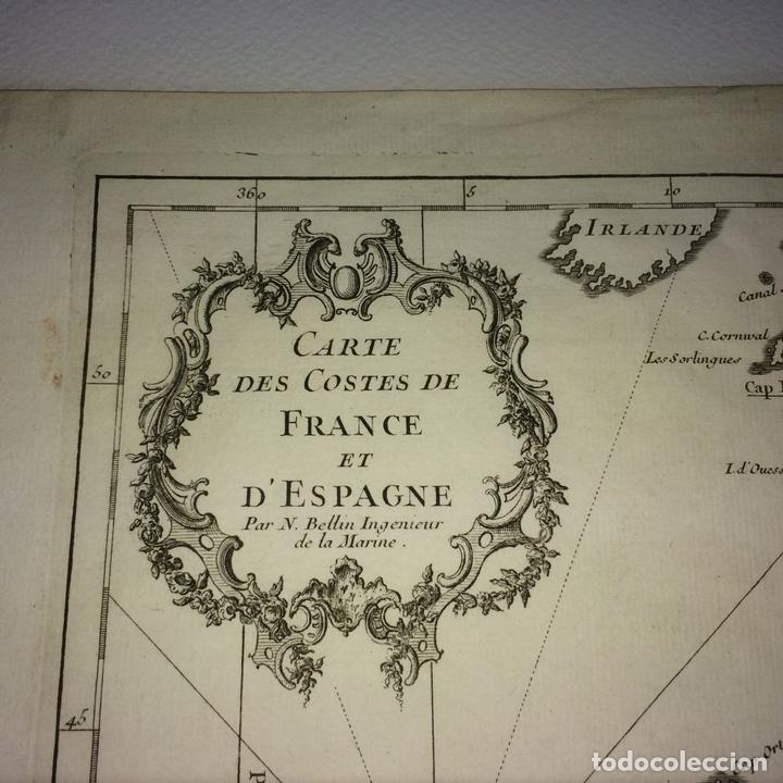 Arte: CARTE DES COSTES DE FRANCE ET DESPAGNE. JACQUES NICOLAS BELLIN. FRANCIA.1749-1760 - Foto 3 - 129524459