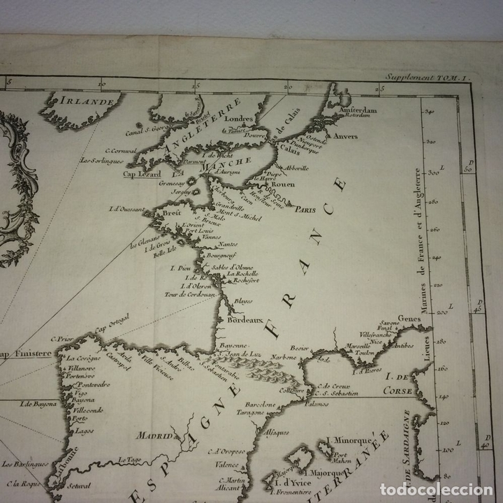 Arte: CARTE DES COSTES DE FRANCE ET DESPAGNE. JACQUES NICOLAS BELLIN. FRANCIA.1749-1760 - Foto 6 - 129524459