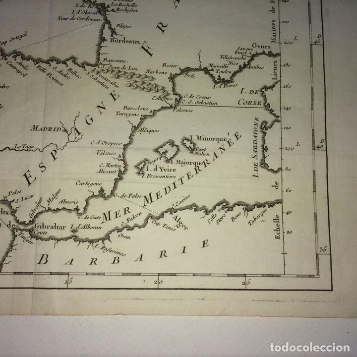 Arte: CARTE DES COSTES DE FRANCE ET DESPAGNE. JACQUES NICOLAS BELLIN. FRANCIA.1749-1760 - Foto 7 - 129524459