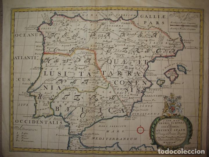 GRAN MAPA DE ESPAÑA Y PORTUGAL EN ÉPOCA ROMANA, 1738. EDWARD WELLS/SPOFFORH (Arte - Cartografía Antigua (hasta S. XIX))