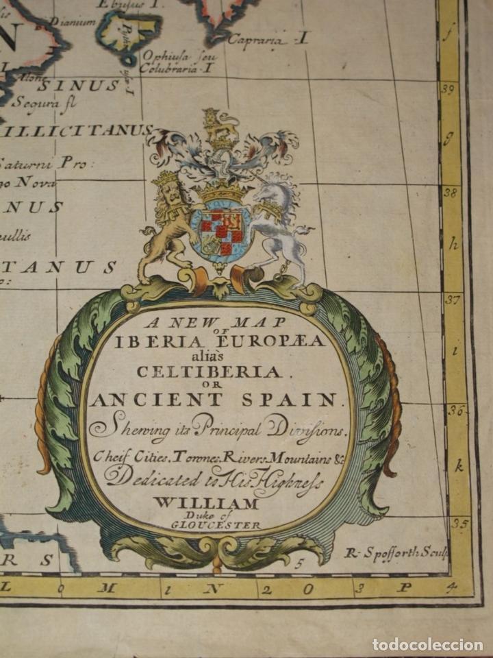 Arte: Gran mapa de España y Portugal en época romana, 1738. Edward Wells/Spofforh - Foto 2 - 129635615