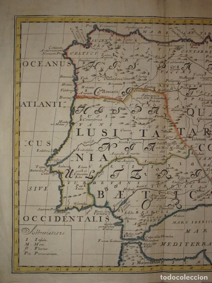 Arte: Gran mapa de España y Portugal en época romana, 1738. Edward Wells/Spofforh - Foto 3 - 129635615