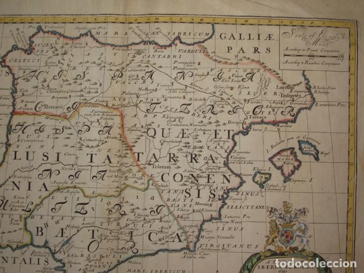 Arte: Gran mapa de España y Portugal en época romana, 1738. Edward Wells/Spofforh - Foto 4 - 129635615