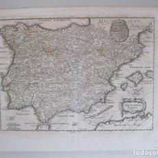 Arte: MAPA DE ESPAÑA Y PORTUGAL,1710. M. MERIAN. Lote 129725071