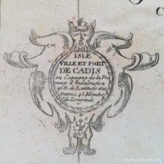 Arte: MAPA DE CADIZ - NICOLAS DE FER - AÑO 1700 - ORIGINAL. Lote 130477898