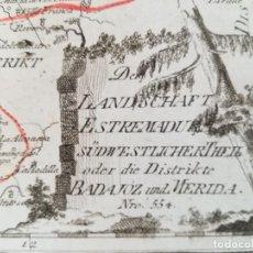 Arte: MAPA DE EXTREMADURA BADAJOZ MERIDA ALREDEDORES - REILLY- AÑO 1791 - ORIGINAL. Lote 130479026