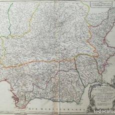 Arte: MAPA DE ANDALUCIA MURCIA VALENCIA CASTILLA - AÑO 1752 - GRAN FORMATO. Lote 131108160