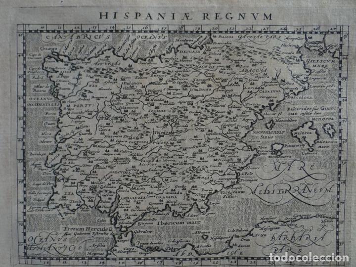 Arte: Mapa de España y Portugal, 1597. Ptolomeo/Magini/Keschedt - Foto 2 - 131633962