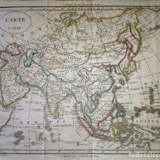 Arte: MAPA ANTIGUO ASIA 1817 CON CERTIFICADO DE AUTENTICIDAD. MAPAS ANTIGUOS DE ASIA CONTINENTE. Lote 132368386