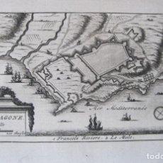 Arte: MAPA Y PLANO DE LA CIUDAD DE TARRAGONA (ESPAÑA), 1707. PIETER VAN DER AA. Lote 132503966