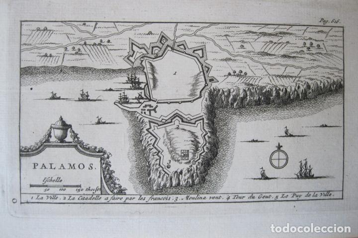 MAPA Y PLANO DE LA CIUDAD DE PALAMÓS, GERONA (CATALUÑA, ESPAÑA), 1707. PIETER VAN DER AA (Arte - Cartografía Antigua (hasta S. XIX))
