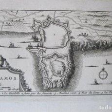 Arte: MAPA Y PLANO DE LA CIUDAD DE PALAMÓS, GERONA (CATALUÑA, ESPAÑA), 1707. PIETER VAN DER AA. Lote 132511190