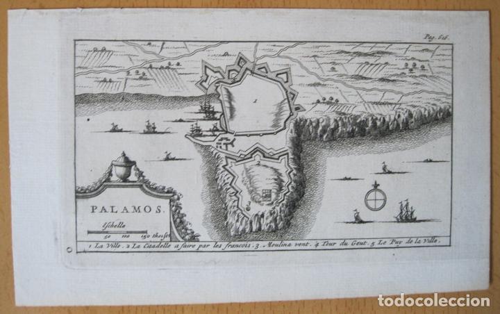 Arte: Mapa y plano de la ciudad de Palamós, Gerona (Cataluña, España), 1707. Pieter Van der Aa - Foto 2 - 132511190