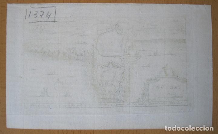 Arte: Mapa y plano de la ciudad de Palamós, Gerona (Cataluña, España), 1707. Pieter Van der Aa - Foto 3 - 132511190