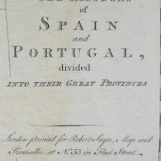Arte: MAPA ESPAÑA Y PORTUGAL - AÑO 1772 - ORIGINAL - GRAN FORMATO. Lote 132660802