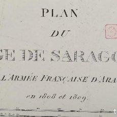 Arte: MAPA PLANO DE ZARAGOZA DEL ASEDIO FRANCES EN 1808-1809 - ORIGINAL - GRAN FORMATO. Lote 132920890