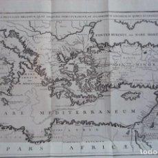 Arte: AÑO 1766. TABULA PECULIARIS REGIONUM (RUTAS QUE SIGUIERON LOS APÓSTOLES PARA PREDICAR EL EVANGELIO).. Lote 132948198
