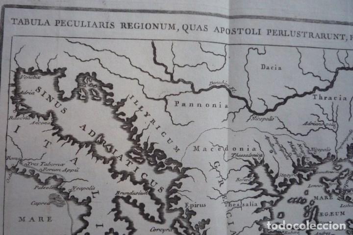 Arte: AÑO 1766. TABULA PECULIARIS REGIONUM (RUTAS QUE SIGUIERON LOS APÓSTOLES PARA PREDICAR EL EVANGELIO). - Foto 2 - 132948198
