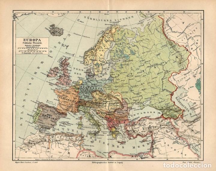 Mapa Polític D Europa.1890 Mapa Politico De Europa Mapa Litografic Sold At