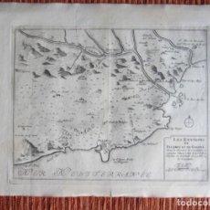 Arte: 1694-PLANO PALAMÓS.GIRONA.TOSA.FORNELLS.LLAGOSTERA.PALLS.AMPURDÁ.BAGUR.GRABADO ORIGINAL. Lote 133452226