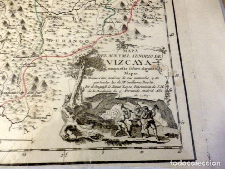 Arte: MAGNÍFICO MAPA DEL SEÑORÍO DE VIZCAYA. 1769. 445x390mm - Foto 2 - 133893258