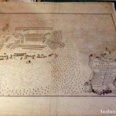 Arte: 1736, GRABADO, MAPA DE LA BATALLA DE WINENDAEL, BELGICA,45X38 CMS. Lote 134742334