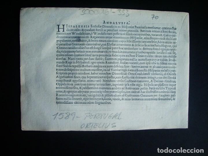 Arte: 1589-MAPA PORTUGAL. ABRAHAM ORTELIUS. Theatrum Orbis Terrarum. ORIGINAL - Foto 3 - 134855338