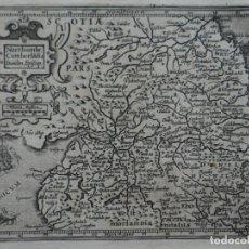 Arte: MAPA DEL REINO DE NORTHUMBRIA (REINO UNIDO, EUROPA)), 1609. MERCATOR/HONDIUS. Lote 134866026