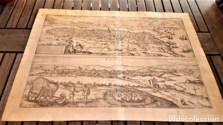 Arte: GRABADO ORIGINAL,PRIMER PLANO EN EL MUNDO DE BARCELONA Y ECIJA CIVITATES ORBIS TERRARUM,AÑO 1572 - Foto 2 - 134865138