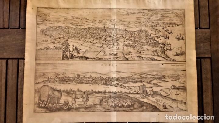 GRABADO ORIGINAL,PRIMER PLANO EN EL MUNDO DE BARCELONA Y ECIJA CIVITATES ORBIS TERRARUM,AÑO 1572 (Arte - Cartografía Antigua (hasta S. XIX))