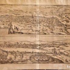 Arte: GRABADO ORIGINAL,PRIMER PLANO EN EL MUNDO DE BARCELONA Y ECIJA CIVITATES ORBIS TERRARUM,AÑO 1572. Lote 134865138