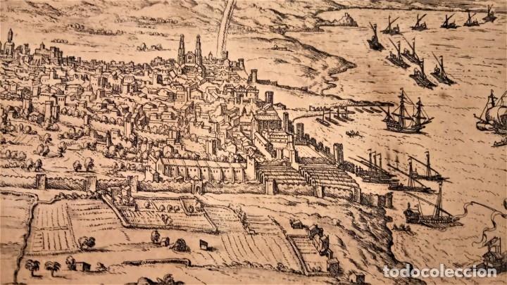 Arte: GRABADO ORIGINAL,PRIMER PLANO EN EL MUNDO DE BARCELONA Y ECIJA CIVITATES ORBIS TERRARUM,AÑO 1572 - Foto 5 - 134865138