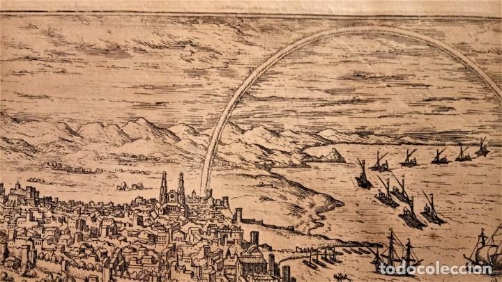 Arte: GRABADO ORIGINAL,PRIMER PLANO EN EL MUNDO DE BARCELONA Y ECIJA CIVITATES ORBIS TERRARUM,AÑO 1572 - Foto 6 - 134865138