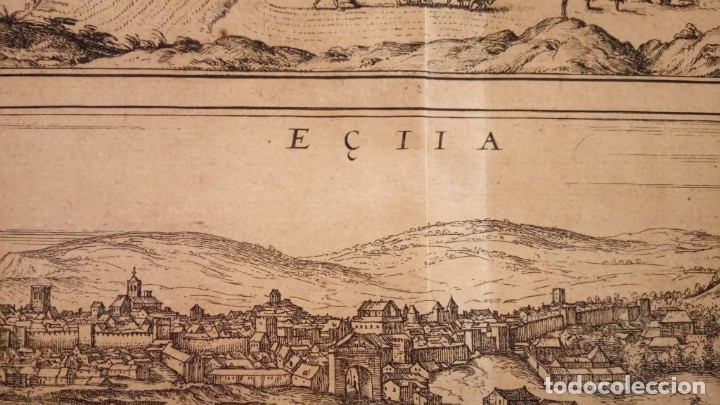 Arte: GRABADO ORIGINAL,PRIMER PLANO EN EL MUNDO DE BARCELONA Y ECIJA CIVITATES ORBIS TERRARUM,AÑO 1572 - Foto 7 - 134865138