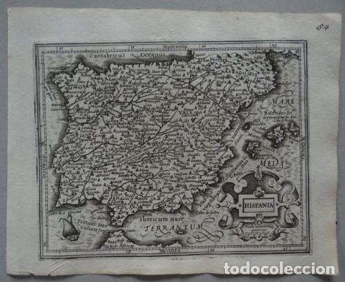 Arte: Mapa de España y Portugal, 1609. Mercator/Hondius - Foto 2 - 135054718