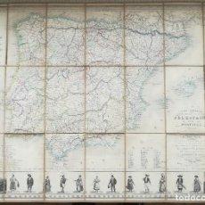Arte: MAPA ESPAÑA PORTUGAL MADRID LISBOA GRANADA - TRAJES TIPICOS - AÑO 1851 -. Lote 135343226