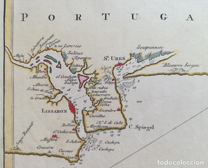 Arte: MAPA ESTRECHO DE GIBRALTAR - CADIZ - PORTUGAL - LISBOA - AÑO 1759 - Foto 4 - 136135298