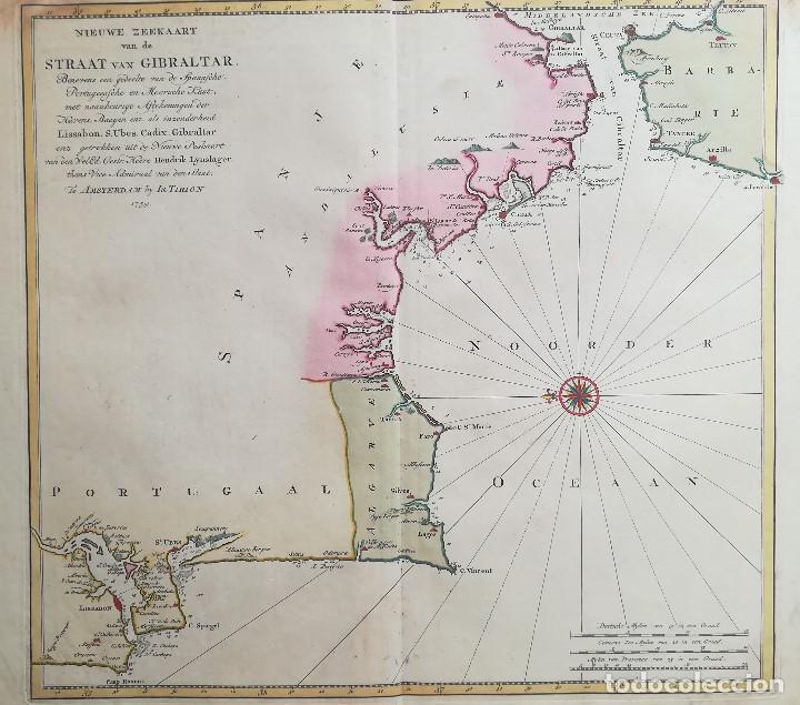 MAPA ESTRECHO DE GIBRALTAR - CADIZ - PORTUGAL - LISBOA - AÑO 1759 (Arte - Cartografía Antigua (hasta S. XIX))
