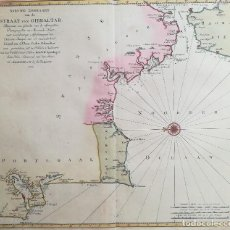 Arte: MAPA ESTRECHO DE GIBRALTAR - CADIZ - PORTUGAL - LISBOA - AÑO 1759. Lote 136135298