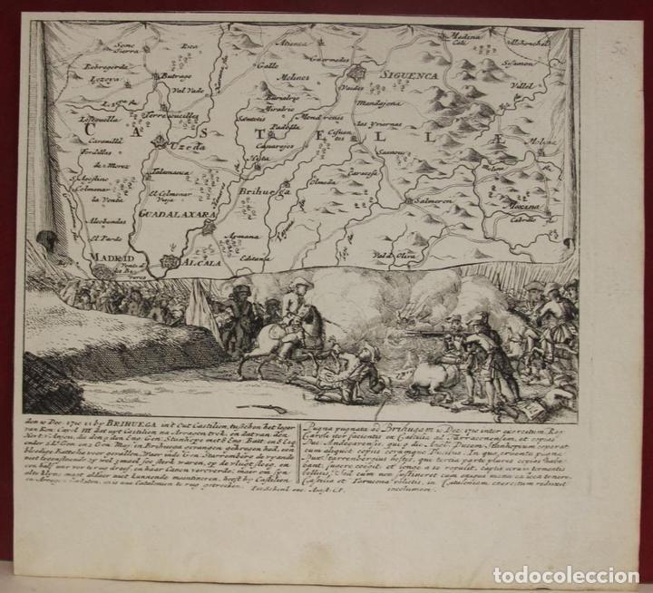 MAPA DE LA BATALLA DE BRIHUEGA, GUADALAJARA (ESPAÑA), 1720. P. SCHENK/VALK (Arte - Cartografía Antigua (hasta S. XIX))