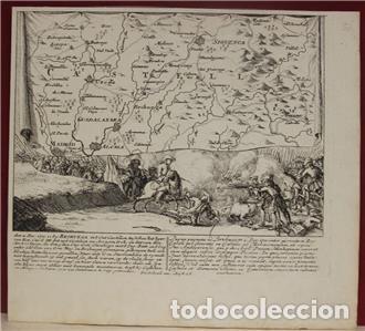 Arte: Mapa de la batalla de Brihuega, Guadalajara (España), 1720. P. Schenk/Valk - Foto 2 - 136201162